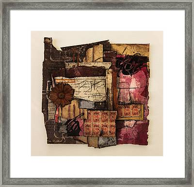Trading Stamps With Flower Framed Print by Laura  Lein-Svencner