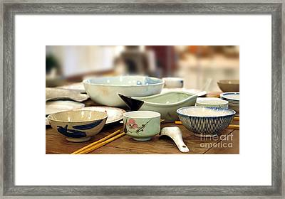 Traditional Chinese Dinner Table Framed Print by Yali Shi