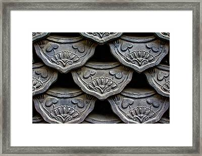 Traditional Korean Roof Tiiles Framed Print by Alex Barlow