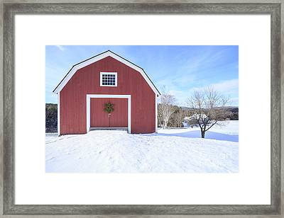 Traditional New England Red Barn In Winter Framed Print by Edward Fielding
