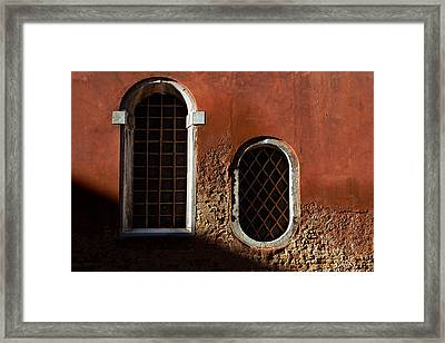 Traditional Venetian Windows Framed Print by George Oze