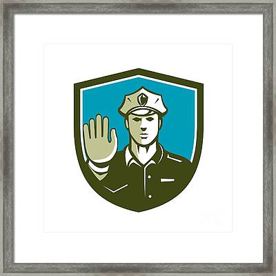 Traffic Policeman Hand Stop Sign Shield Retro Framed Print by Aloysius Patrimonio