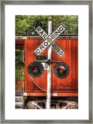 Train - Yard - Railroad Crossing Framed Print by Mike Savad