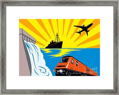 Train Boat Plane And Dam Framed Print by Aloysius Patrimonio