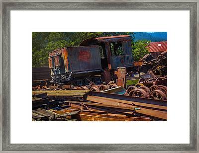 Train Bone Yard Framed Print by Garry Gay
