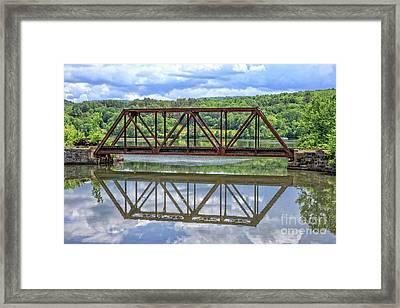 Train Bridge Thetford Vermont Framed Print by Edward Fielding