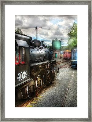 Train - Engine - 4039 - In The Train Yard  Framed Print by Mike Savad