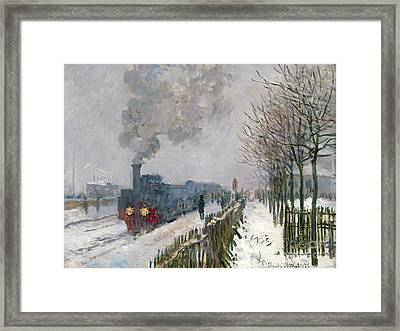 Train In The Snow Or The Locomotive Framed Print by Claude Monet