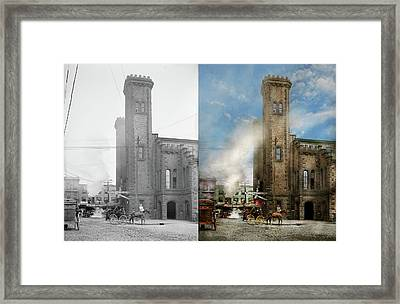 Train Station - Look Out For The Train 1910 - Side By Side Framed Print by Mike Savad