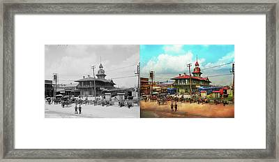 Train Station - Louisville And Nashville Railroad 1905 - Side By Framed Print by Mike Savad