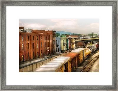 Train - Yard - Train Town Framed Print by Mike Savad