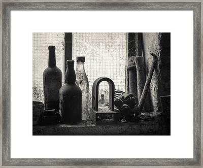 Train Yard Window Framed Print by Dave Bowman