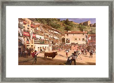 Training Fight In Biscay Framed Print by Gustave Colin