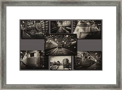 Trains Irm Sepia Collage Framed Print by Thomas Woolworth