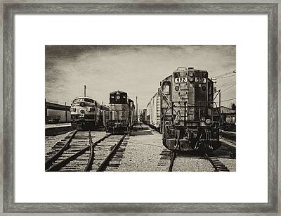 Trains Triple Engine Power Sepia Framed Print by Thomas Woolworth