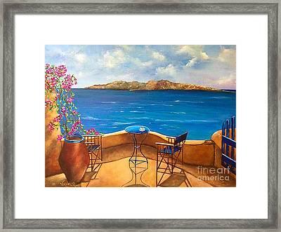 Tranquility Of Santorini Framed Print by Viktoriya Sirris