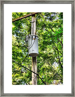 Transformer And Power Lines Framed Print by Lanjee Chee