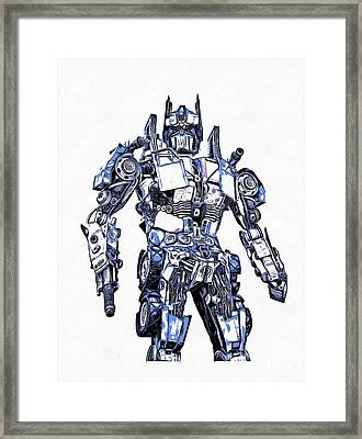 Transformers Optimus Prime Or Orion Pax Graphic  Framed Print by Edward Fielding