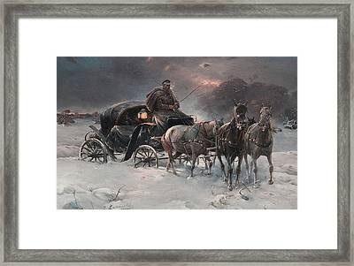 Traveller On A Winter Night Framed Print by Alfred Kowalski