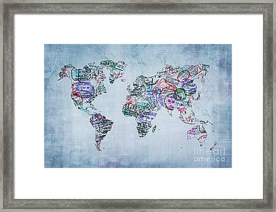 Traveler World Map Framed Print by Delphimages Photo Creations