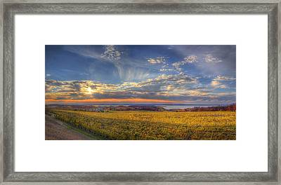 Traverse City From Old Mission At Sunset Framed Print by Twenty Two North Photography