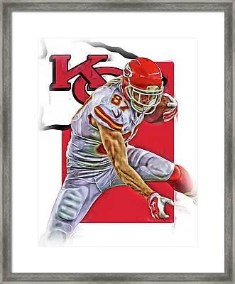 Travis Kelce Kansas City Chiefs Oil Art Framed Print by Joe Hamilton