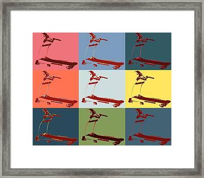 Treadmill Pop Art Panels Framed Print by Dan Sproul