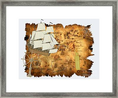 Treasure Map Framed Print by Corey Ford