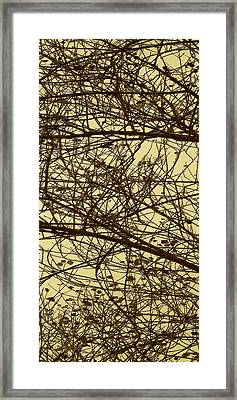 Tree Abstract In Yellow No 2 Framed Print by Ben and Raisa Gertsberg