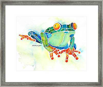 Tree Frog In Greens Framed Print by Jo Lynch