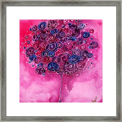 Tree Of Life Pink Swirl Framed Print by Christy  Freeman