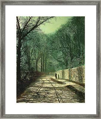Tree Shadows In The Park Wall Framed Print by John Atkinson Grimshaw