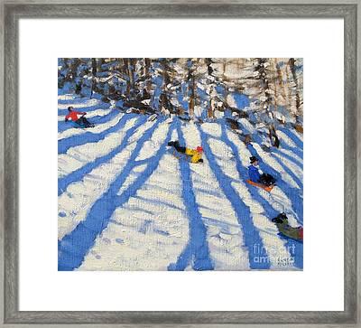Tree Shadows Morzine Framed Print by Andrew Macara