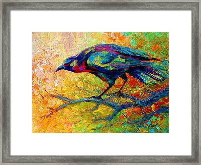 Tree Talk - Crow Framed Print by Marion Rose