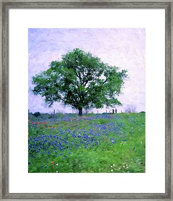 Tree With Bluebonnets Framed Print by Gary Grayson