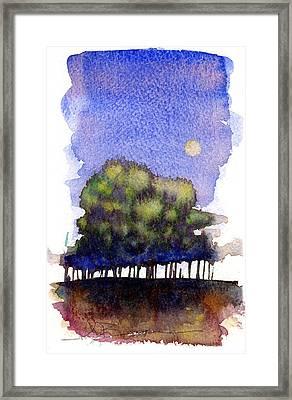 Trees At Moon Rise Framed Print by John D Benson