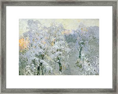 Trees In Wintry Silver Framed Print by Konstantin Ivanovich Gorbatov