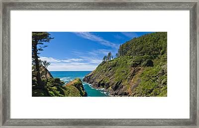 Trees On A Mountain, Heceta Head Framed Print by Panoramic Images