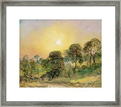 Trees On Hampstead Heath At Sunset Framed Print by John Constable