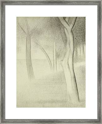Trees  Study For La Grande Jatte Framed Print by Georges Pierre Seurat