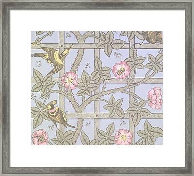 Trellis   Antique Wallpaper Design Framed Print by William Morris