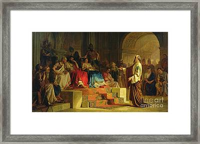 Trial Of The Apostle Paul Framed Print by Nikolai K Bodarevski