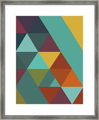 Triangles Colors City 4 Framed Print by Francisco Valle