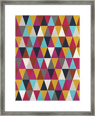 Triangles Design Colors Framed Print by Francisco Valle