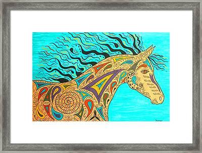 Tribal Carnival Spirit Horse Framed Print by Susie WEBER