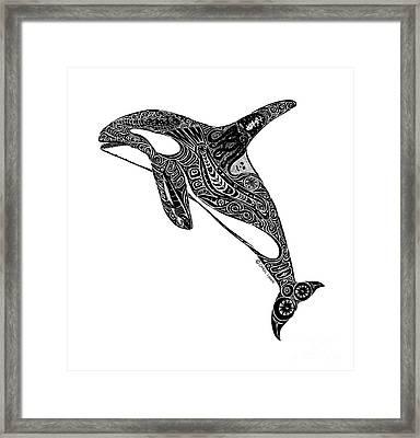Tribal Orca Framed Print by Carol Lynne