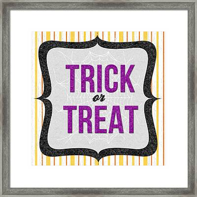 Trick Or Treat- Art By Linda Woods Framed Print by Linda Woods