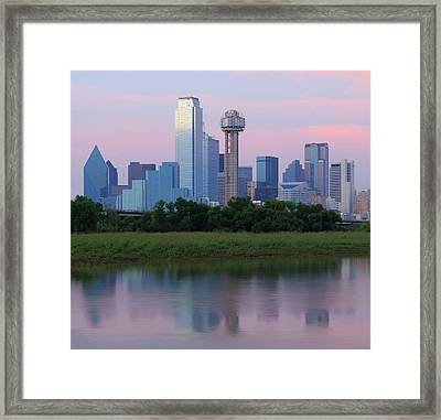 Trinity River With Skyline, Dallas Framed Print by Michael Fitzgerald Fine Art Photography of Texas