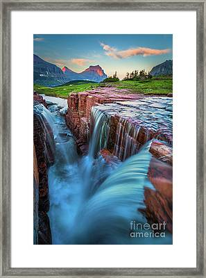 Triple Falls Dusk Framed Print by Inge Johnsson