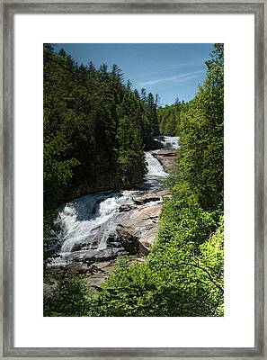 Triple Falls In Dupont State Forest Framed Print by John Haldane